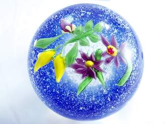 Murano Tripact Design Glass Art 2 Layer Abstract Pattern Ball Paperweight PW-6101