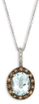 Effy 14K White Gold, Clear Quartz & Diamond Pendant Necklace