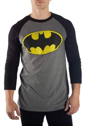 DC Comics Batman Men's Batman Distressed Logo Raglan Tee