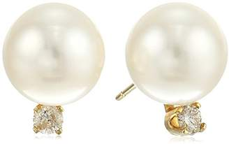 14k Yellow Gold Diamond with 10-10.5 mm Round Freshwater Cultured Pearl Stud Earrings (1/10 cttw