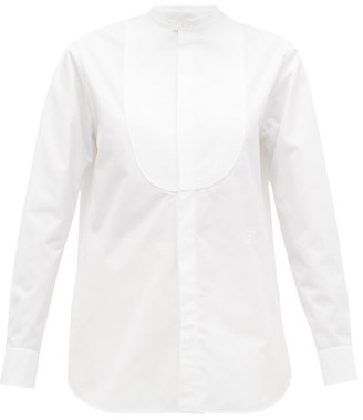 Jil Sander Embroidered Band Collar Bib Front Cotton Shirt - Womens - White