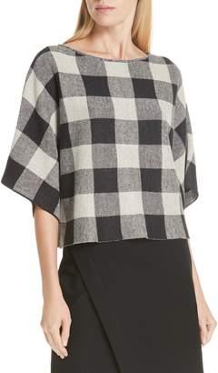 Eileen Fisher Check Plaid Organic Linen Top