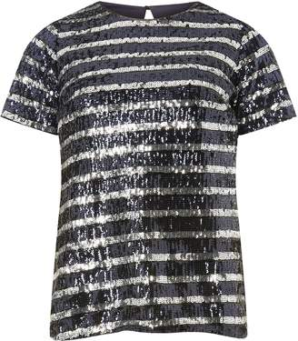 Dorothy Perkins Womens Blue Striped Sequin Top