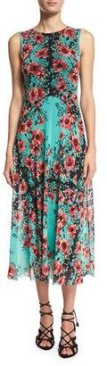 Fuzzi Sleeveless Floral-Print Tulle Midi Dress $560 thestylecure.com
