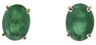18K White Gold with 2.23ct. Green Emerald Post Earrings