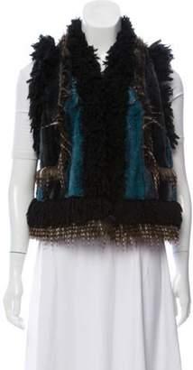 Anna Sui Cropped Faux Fur Vest w/ Tags Black Cropped Faux Fur Vest w/ Tags
