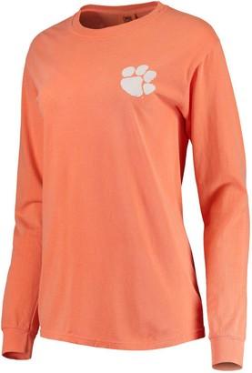 Unbranded Women's Orange Clemson Tigers Comfort Colors Campus Skyline Long Sleeve Oversized T-Shirt