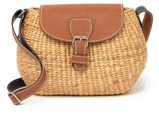 Sea & Grass Ava Straw & Faux Leather Crossbody