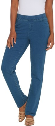 Denim & Co. Petite Comfy Knit Straight Leg Jeans with Cargo Pocket