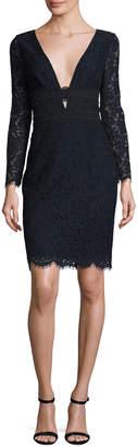 Diane von Furstenberg Viera Lace Long-Sleeve V-Neck Cocktail Dress, Deep Night/Black
