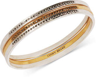 Lucky Brand Two-Tone 3-Pc. Set Pave Bangle Bracelets