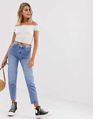 JDY straight leg frayed hem jeans