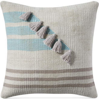 "Lucky Brand Closeout! Stripe Tassel 18"" x 18"" Decorative Pillow, Created for Macy's Bedding"