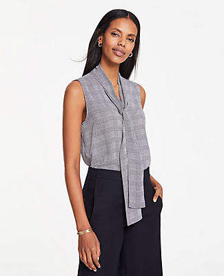 Ann Taylor Tall Houndstooth Plaid Bow Neck Button Down Shell