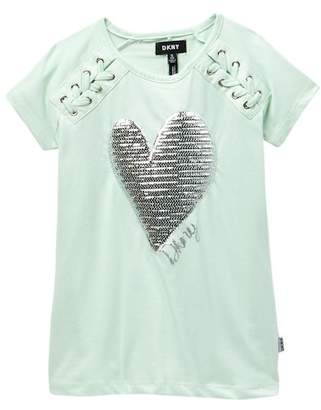 DKNY Raglan Lace Up Top W/ Heart (Big Girls)