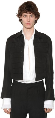 Ann Demeulemeester Striped Linen Blend Spencer Jacket