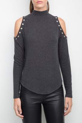 Generation Love Cold Shoulder Eyelet Top