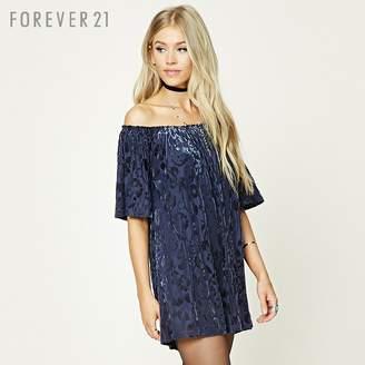 Forever 21 (フォーエバー 21) - Forever 21 オフショルダーベロアワンピース