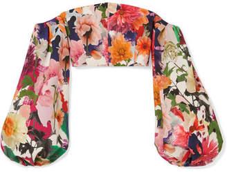 Cushnie et Ochs Carlita Cropped Off-the-shoulder Floral-print Cady Top - Orange