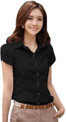 Comvison Women Summer Short Sleeve Shirt Casual T Shirts Black Formal Work Wear Tops( Size: Color:)