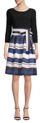 Eliza J Belted Fit--Flare Dress