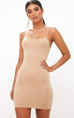 PrettyLittleThing Basic Champagne Strappy Bodycon Dress