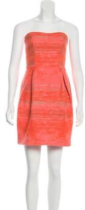 Lela Rose Strapless Metallic Dress gold Strapless Metallic Dress