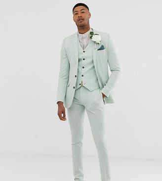 Hatch Asos Design ASOS DESIGN Tall wedding super skinny suit pants in green cross