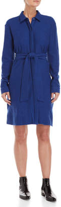 Le Mont St Michel Blue Wool Self-Tie Shirt Dress
