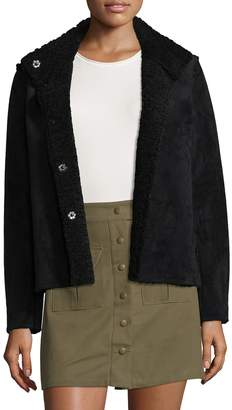 Velvet by Graham & Spencer Women's Reversible Sherpa and Faux Suede Coat