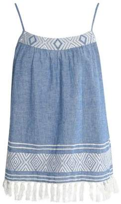 Soft Joie Embroidered Cotton And Linen-Blend Chambray Top