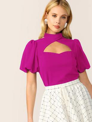 Shein Neon Pink Cut Out Keyhole Back Blouse