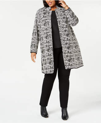 Alfani Plus Size Textured Jaquard Open-Front Jacket, Created for Macy's