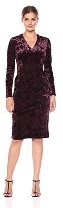 Maggy London Women's Crushed Velvet Long Sleeve Mid Length Sheath