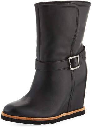 UGG Ellecia Leather Buckle Hidden Wedge Booties