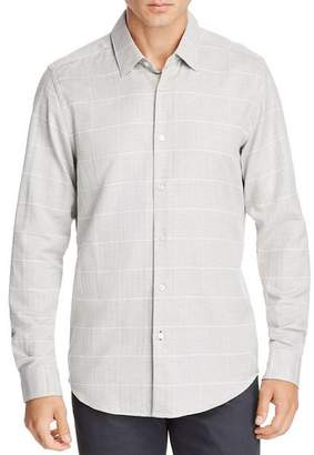 BOSS Lukas Micro-Herringbone Grid-Print Regular Fit Shirt