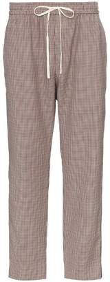 Gucci drawstring houdstooth wool mohair-blend pants