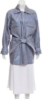 Chanel Sport Tie-Accented Linen Coat
