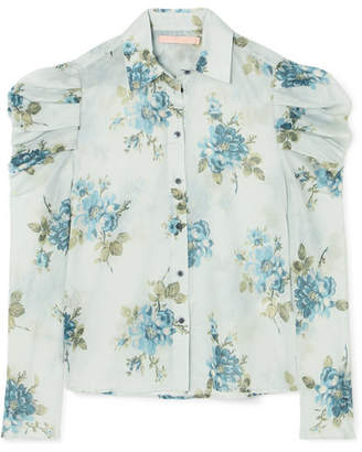 Brock Collection Tanner Floral-print Cotton-voile Blouse - Light blue