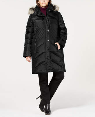 6a6270a32ab London Fog Plus Size Faux-Fur-Trim Hooded Down Puffer Coat