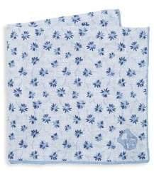 Corneliani Men's Floral Silk Pocket Square - White