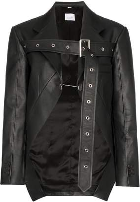 Burberry belt strap leather blazer jacket
