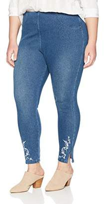 Lysse Women's Size Plus Cooper Denim Legging with Embroidery