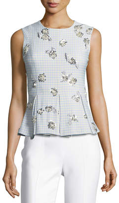 Brock Collection Tara Sleeveless Gingham Suiting Top w/ Embellishments