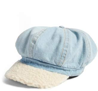 BP Faux Shearling & Denim Baker Boy Hat