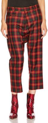 R 13 Tailored Drop Trouser in Red Tartan | FWRD