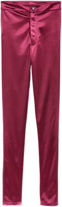 H&M Glossy Slim-fit Pants - Red