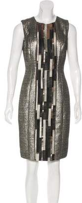 Carmen Marc Valvo Silk-Paneled Beaded Dress