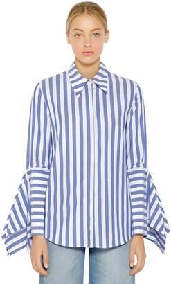 Flared Sleeve Stripe Cotton Poplin Shirt