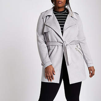 River Island Plus grey faux suede longline trench jacket